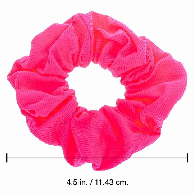 Medium Ribbed Hair Scrunchie - Neon Pink,
