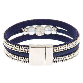 Embellished Fireball Statement Bracelet - Navy,
