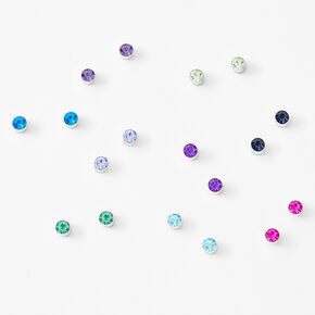 Silver Icy Rainbow Round Magnetic Stud Earrings - 9 Pack,