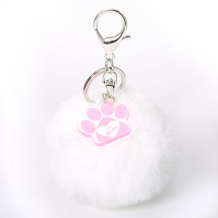 Fur Mama Pom Keychain - White,