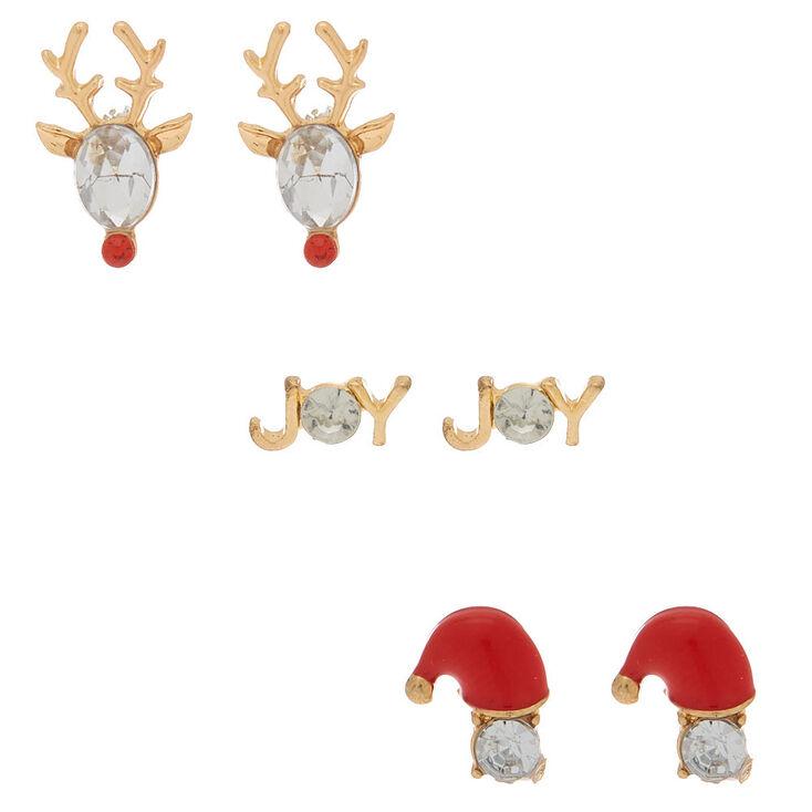 Gold Crystal Christmas Stud Earrings - 3 Pack,
