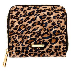 Quilted Leopard Mini Zip Wallet - Brown,
