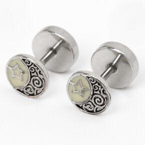 Silver Celestial Plug Stud Earrings,