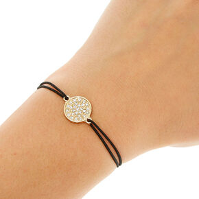 Black Double Stretch Bracelet with Glitter Charm,