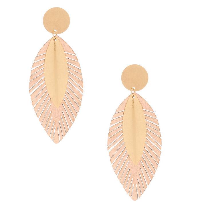 """Gold 3"""" Metallic Leaf Drop Earrings,"""