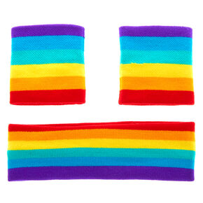 Rainbow Striped Sweatband Set,