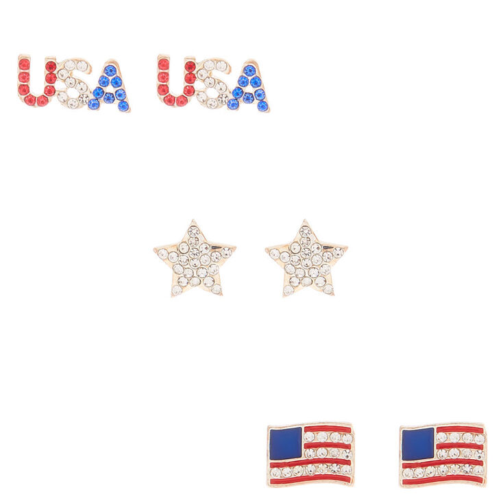 Silver USA Mixed Crystal Stud Earrings - 3 Pack,