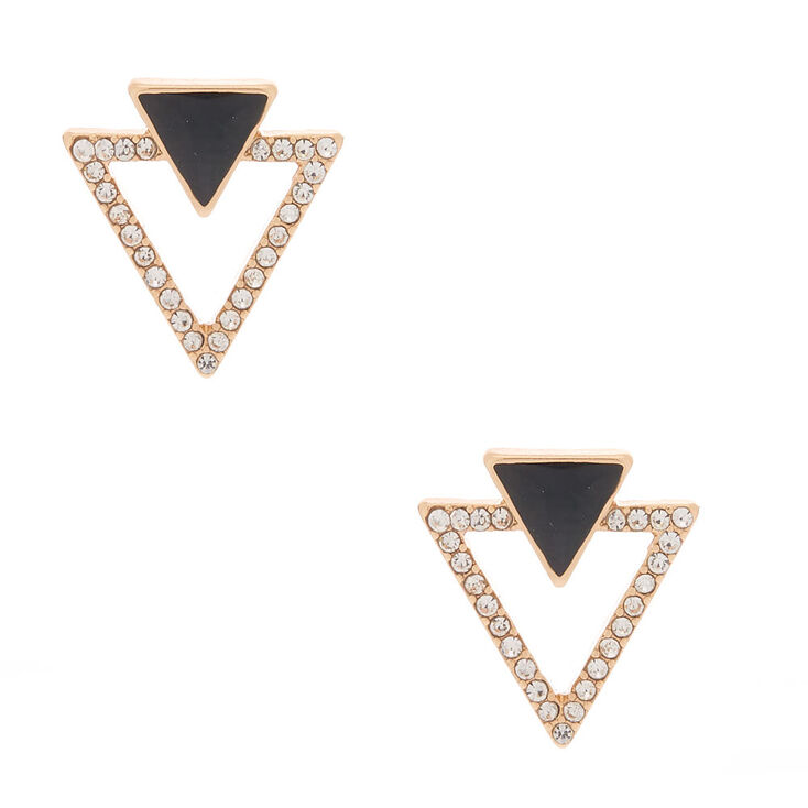 1920s Gatsby Jewelry- Flapper Earrings, Necklaces, Bracelets Icing Gold Double Triangle Stud Earrings $7.99 AT vintagedancer.com