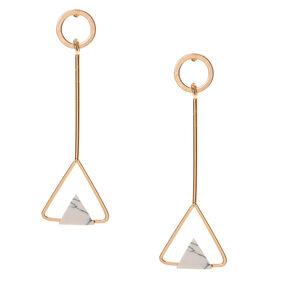 Teardrop White Marbled Stone Teardrop Earrings,