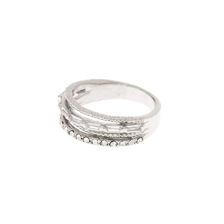 Silver Cubic Zirconia Stacked Ring,