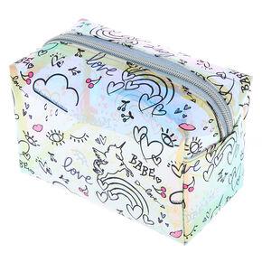 Holographic Doodle Print Makeup Bag,