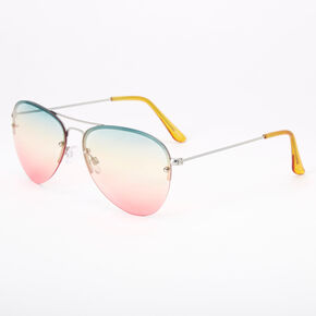 Rainbow Gradient Aviator Sunglasses,