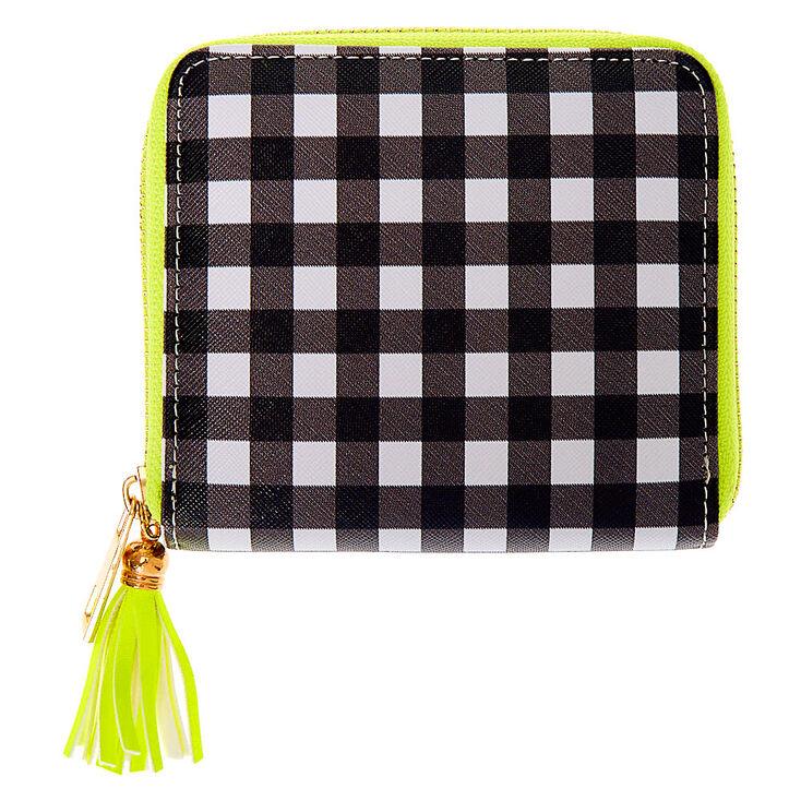 Neon Gingham Mini Zip Wallet,