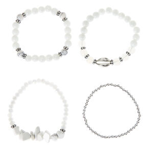 Howlite Bead Stretch Bracelets - White, 4 Pack,
