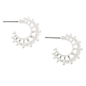 Silver 20MM Ornate Hoop Earrings,