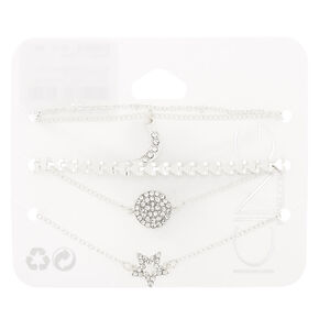 Silver Celestial Chain Bracelets - 5 Pack,