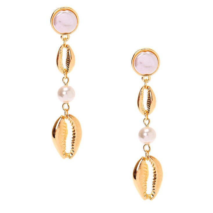 "Gold Pearl 2.5"" Cowrie Shell Drop Earrings,"