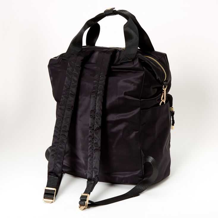 Satin Quilted Double Handle Medium Backpack - Black,
