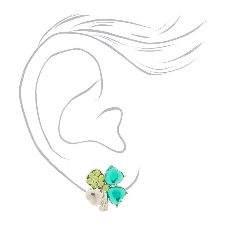 Silver Crystal Shamrock Stud Earrings - Green,
