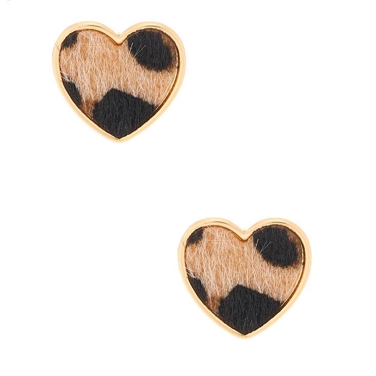Gold Leopard Heart Stud Earrings,