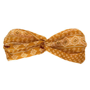 Silky Aztec Twisted Headwrap - Mustard,