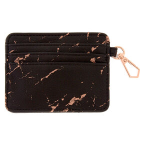 Black & Rose Gold Marbled ID Holder,