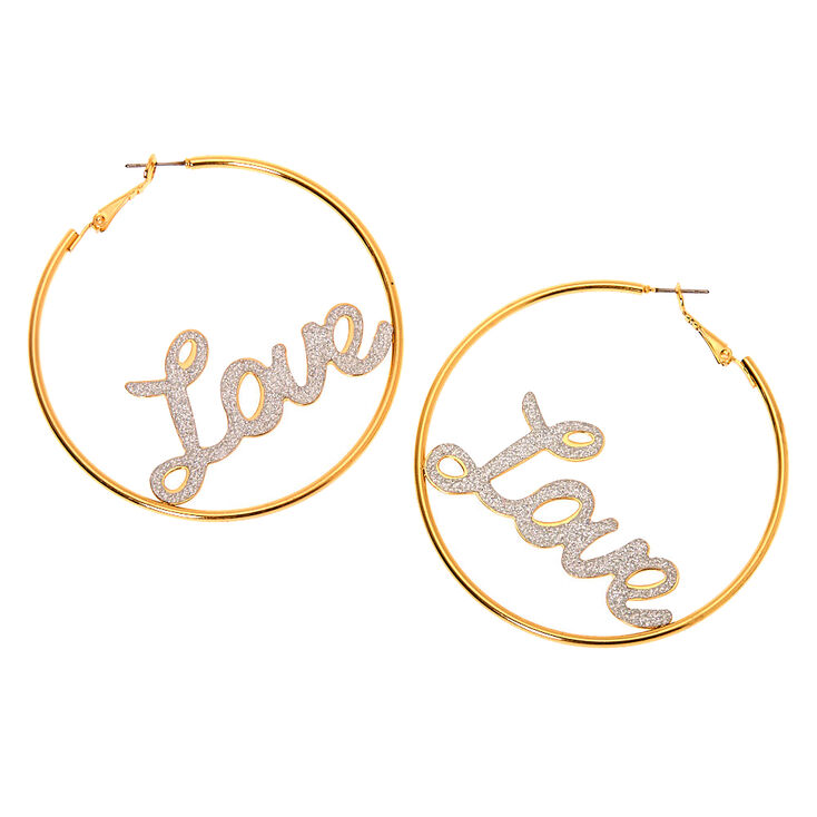 Gold 60MM Love Hoop Earrings,