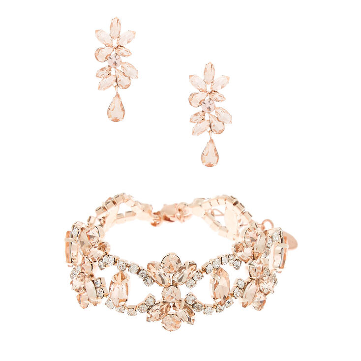 Rose Gold Rhinestone Glam Jewelry Set - 2 Pack,