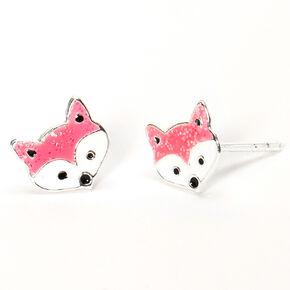 Sterling Silver Fox Stud Earrings - Pink,
