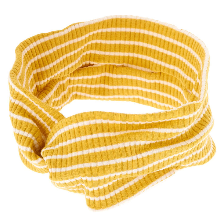 Ribbed Striped Twisted Headwrap - Mustard,