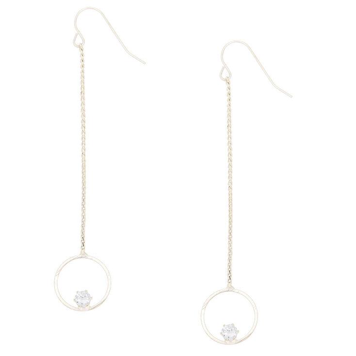 "Cubic Zirconia 2.5"" Circle Drop Earrings,"