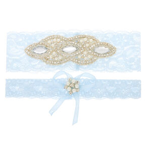 Embellished Lace Garter Set - Blue, 2 Pack,