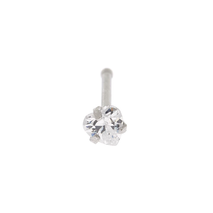 Silver Cubic Zirconia 20G Heart Nose Stud,