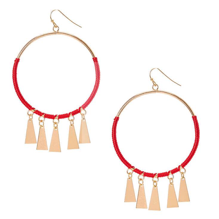 Red Cord & Gold Circle Drop Earrings,