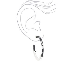 Silver 60MM Spotted Hoop Earrings - Black,