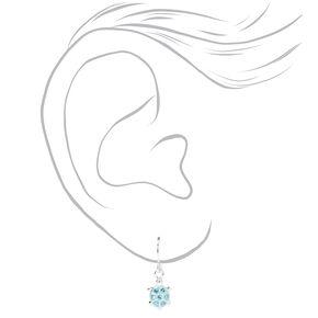 Sterling Silver Embellished Turtle Drop Earrings - Blue,