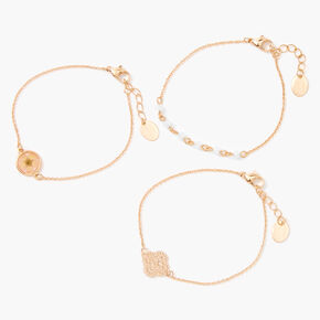Gold Pressed Floral Filigree Chain Bracelets - 3 Pack,