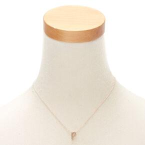 Rose Gold Cursive Initial Pendant Necklace - P,