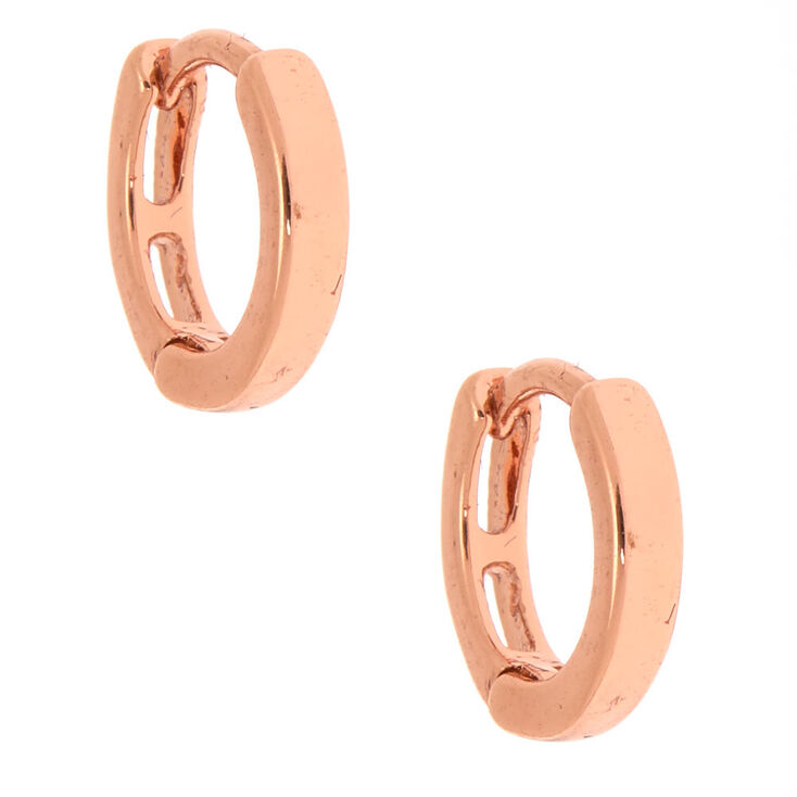 18kt Rose Gold Plated 10MM Clicker Hoop Earrings,