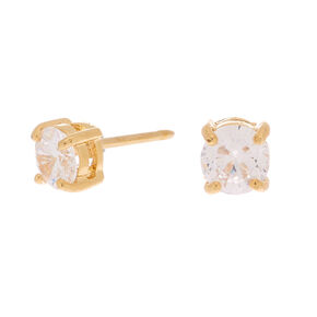 18kt Gold Plated Cubic Zirconia Round Stud Earrings - 5MM,