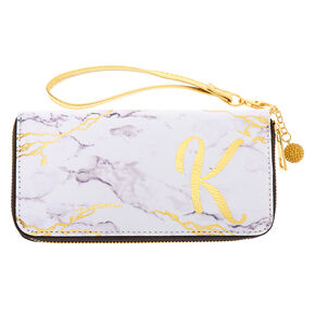 Marble Initial Wristlet - K,