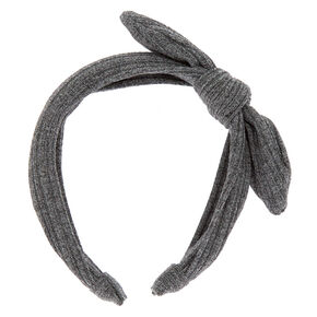 Ribbed Knot Bow Headband - Gray,