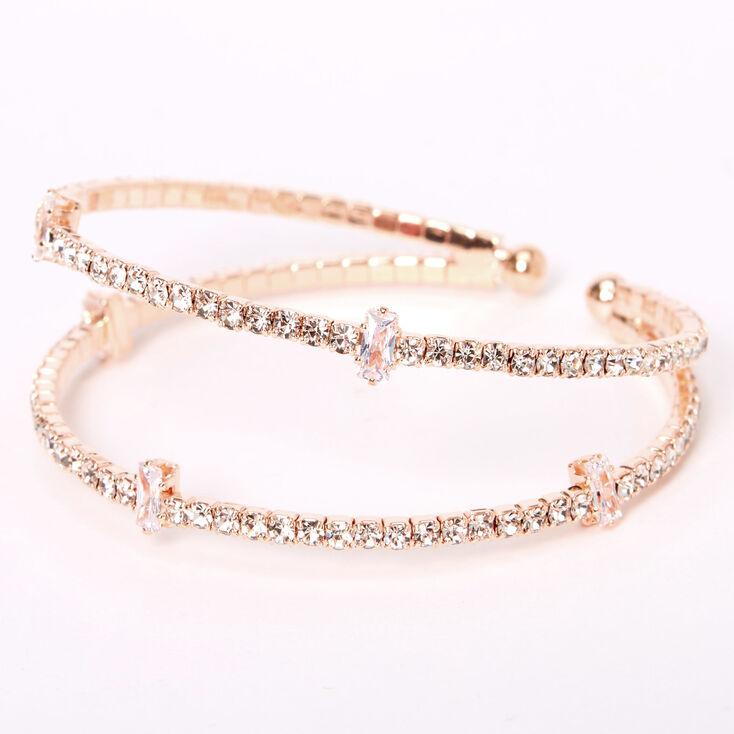 Rose Gold Rhinestone Double Row Cuff Bracelet,