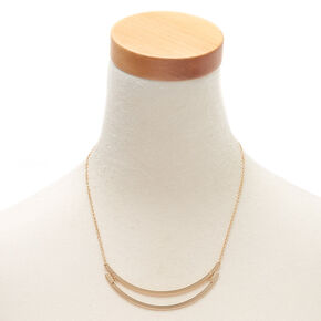 Gold Double Bar Statement Necklace,