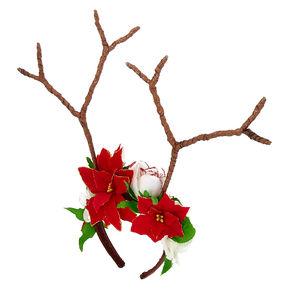 Poinsettia Reindeer Antlers Headband,