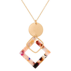 Gold Resin Painted Diamond Long Pendant Necklace,