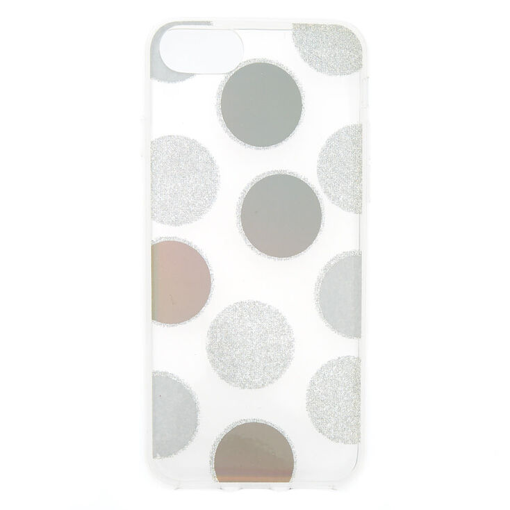 Silver Glitter Polka Dot Phone Case - Fits iPhone 6/7/8 Plus,