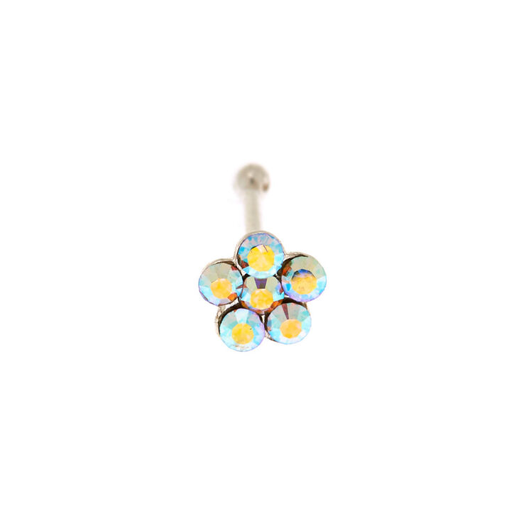 Sterling Silver 22G Iridescent Flower Stone Nose Stud,