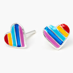 Sterling Silver Rainbow Striped Heart Stud Earrings,
