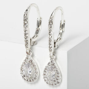 "Silver 2.5"" Cubic Zirconia Rhinestone Teardrop Lever Drop Earrings,"